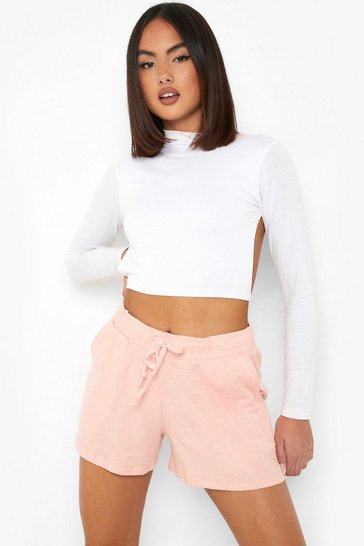 Pink Elasticated Tie Waist Shorts