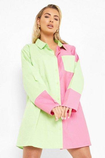 Lime green Colour Block Oversized Shirt Dress