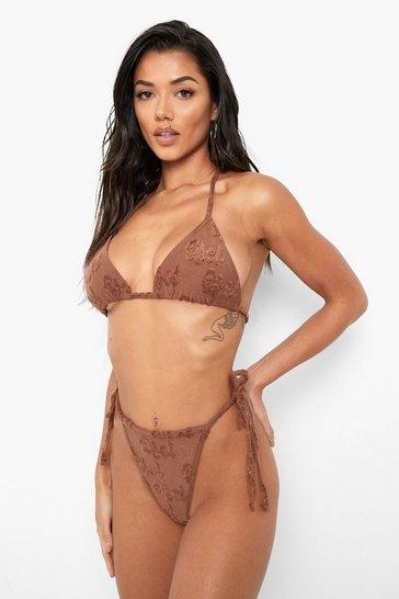Chocolate brown Towelling Embossed Tie Side Bikini Brief