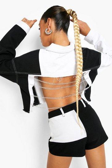 Black Patchwork Denim Chain Detail Denim Jacket