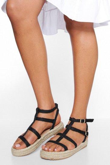 Black Strap Detail Espadrille Sandals