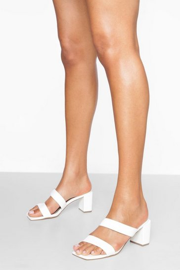 White Double Strap Block Heels