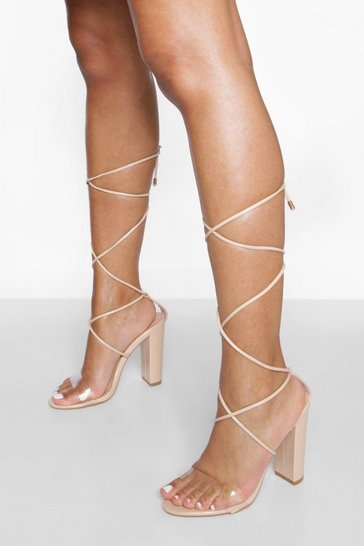 Beige Clear Detail Strappy Heels