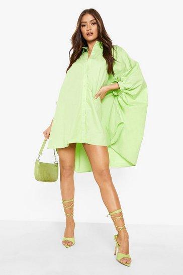 Lime green Oversized Batwing Sleeve Shirt Dress