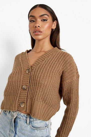 Camel beige Chunky Knit Crop Cardigan