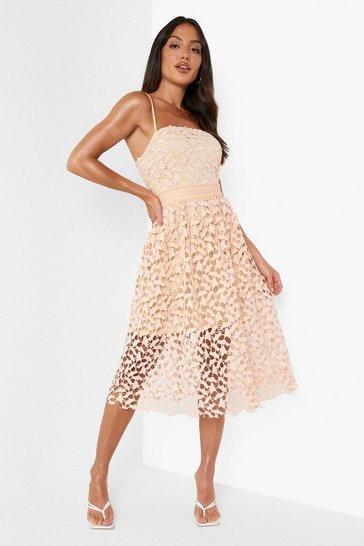 Blush pink Lace Detail Midi Skater Dress