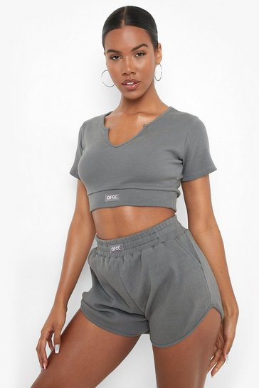 Charcoal grey Ofcl Premium Ribbed Notch Front Gym Top