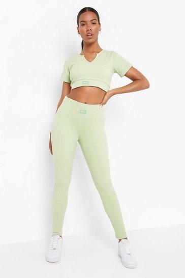 Sage green Ofcl Premium Ribbed Gym Leggings