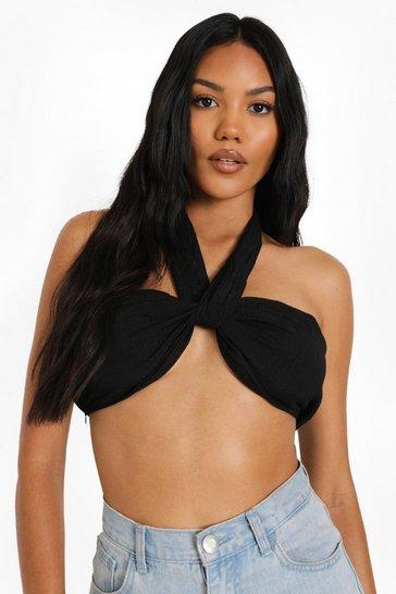 Black Textured Halter Neck Top
