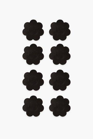 Brushworks Black Satin Nipple Covers - 4 Pair