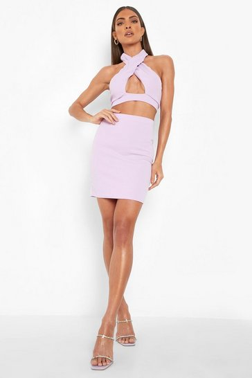Lilac purple Halter Crop & Mini Skirt