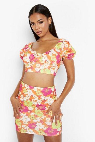 Pink Floral Puff Sleeve Crop & Mini Skirt