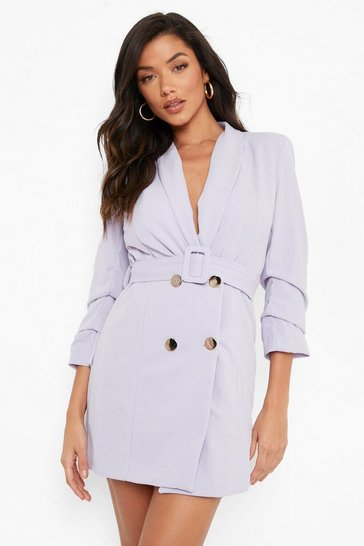 Lilac purple Woven Tailored Belted Blazer Dress