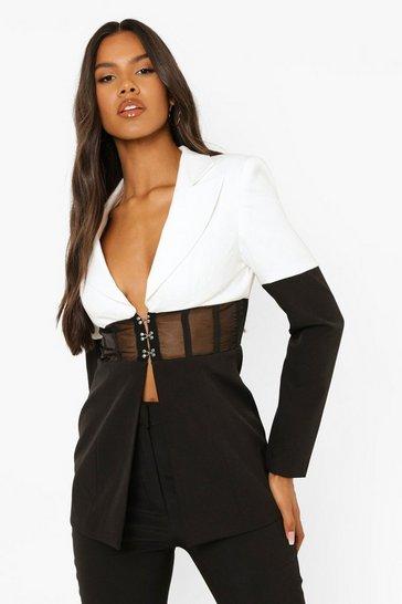 Black Monochrome Corset Waist Tailored Blazer