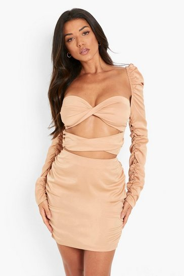 Nude Matte Satin Ruched Sleeve Crop Top