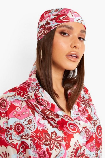 Red 70's Print Head Scarf