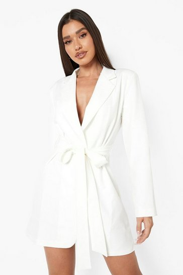 Cream white Obi Tie Waist Blazer Dress
