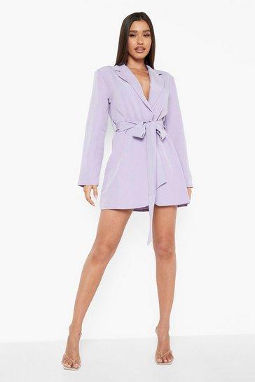 Lilac purple Obi Tie Waist Blazer Dress
