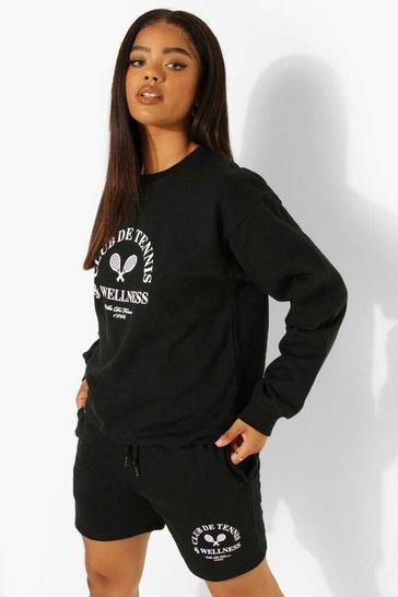 Black Tennis Wellness Sweater Short Tracksuit