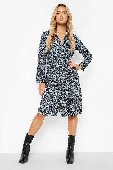 Blue Leopard Belted Shirt Dress