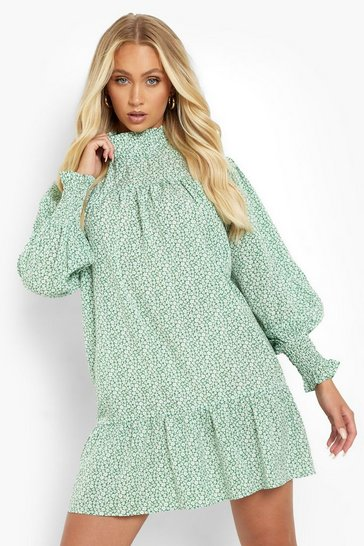 Green Floral High Neck Puff Sleeve Smock Dress