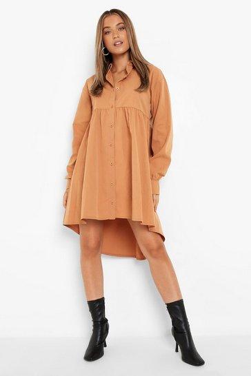Camel beige Long Sleeve Smock Shirt Dress