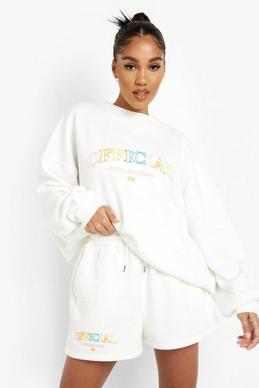 Ecru white 3d Official Embroidered Short Tracksuit
