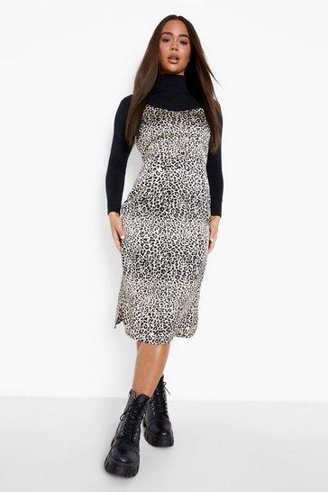 Stone beige Leopard Print Midi Slip Dress