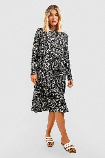 Black Polka Dot Smock Dress