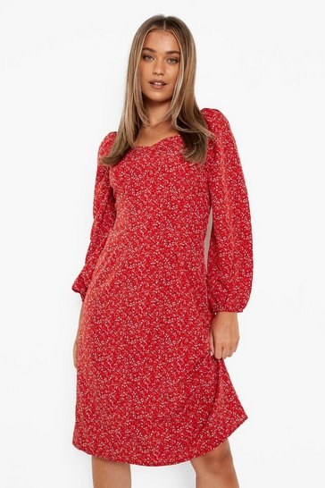 Red Ditsy Floral Sweetheart Midi Dress