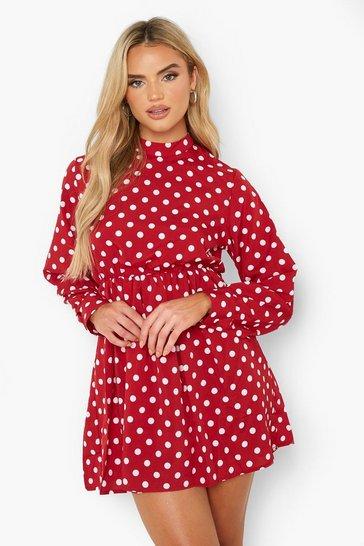 Red Polka Dot Long Sleeve Skater Dress
