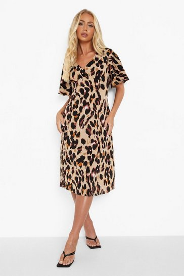 Stone beige Leopard Print Angel Sleeve Midi Dress