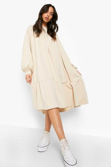 Stone beige Long Sleeve Midi Smock Dress