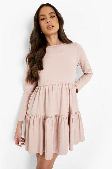 Rose pink Long Sleeve Smock Dress