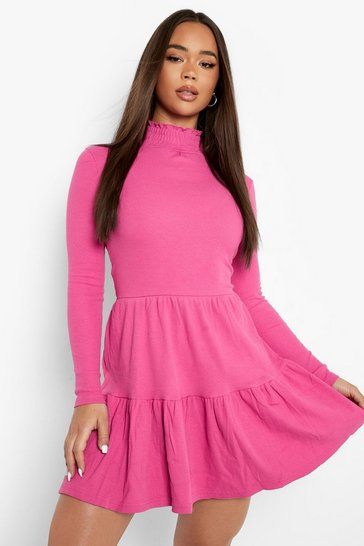 Magenta pink Roll Neck Long Sleeve Mini Dress
