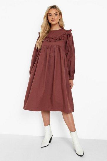 Chocolate brown Long Sleeve Midi Smock Dress
