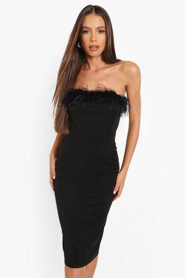 Black Feather Bandeau Midi Dress