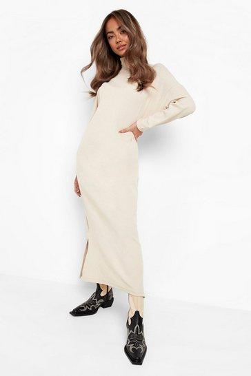 Stone beige Long Sleeve Roll Neck Midaxi Dress