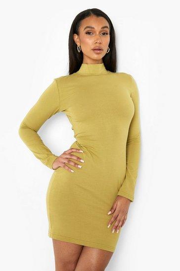 Khaki Long Sleeve Cut Out Back Mini Dress