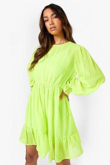 Lime green Dobby Mesh Side Tie Mini Dress