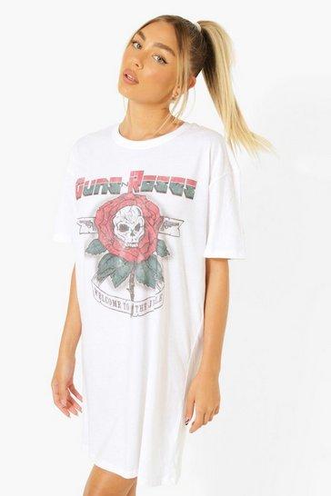 White Guns And Roses Licenced T Shirt Dress