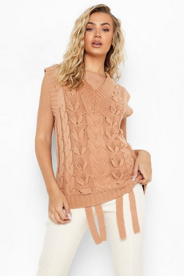 Camel beige Chunky Lace Up Cable Knit Tank