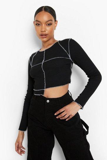 Black Contrast Seam Panelled Rib Top