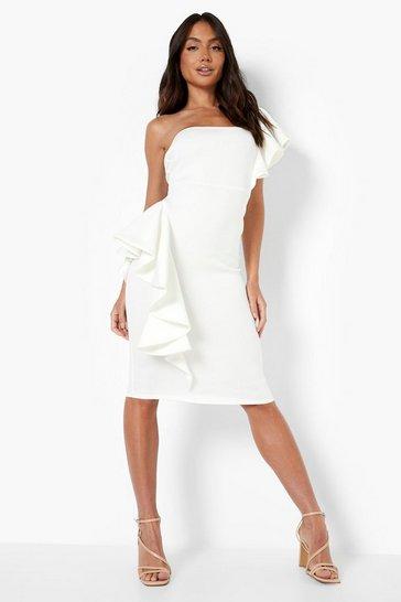 White One Shoulder Extreme Ruffle Detail Midi Dress