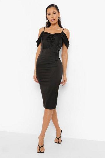 Black Satin Ruched Detail Midi Dress