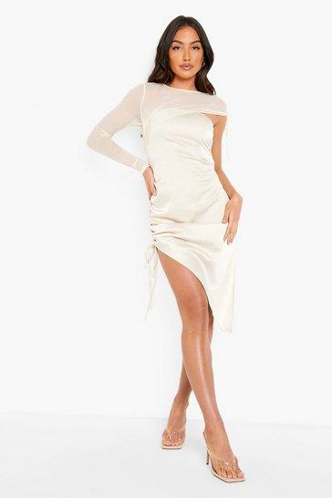 Stone beige Mesh Sleeve Ruched Detail Mini Dress