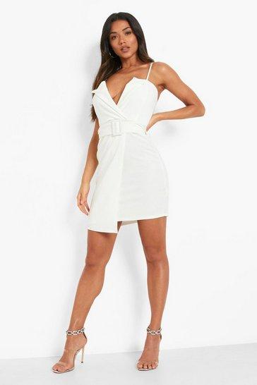White Strappy Belted Blazer Dress