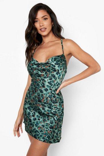 Green Strappy Back Cowl Neck Slip Dress