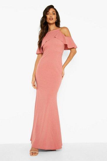 Rose pink Cold Shoulder Ruffle Maxi Dress