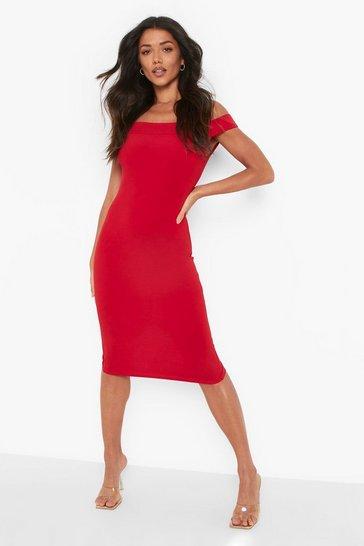 Red Cold Shoudler Strappy Midi Dress